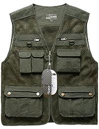 Zicac Männer Reißverschluss Multi-Tasche Netz Breathable Fotografie Angeln Vest Outdoor-Klettern Weste