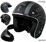 Route 66 OFFENER HELM VINTAGE RETRO BOBBER CHOPPER LOW PROFILE SLIM FIT JET PILOT HELMET SCHWARZ (XL (61-62 CM))