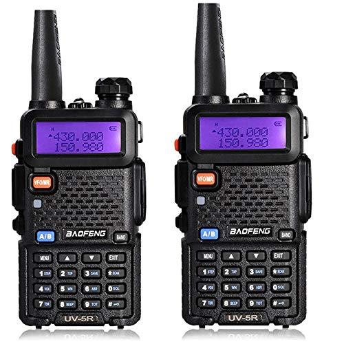 LIDAUTO Walkie Talkie Portatil Radio de Alta Potencia del Coche 128 Canales Banda Dual de Dos Vías BF-UV5R (2 Paquetes)