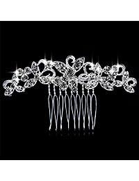 QILENE - Peine de novia con diamantes de cristal para mujer