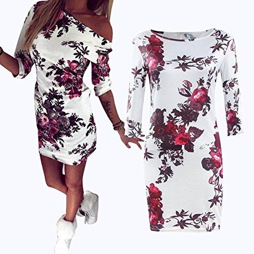 4 Ärmel Asymmetrisch Ausschnitt Floral Printkleid Minikleid/ Kleid Frauen Party/Mädchen Kostüm S-5XL (Tanz Kostüme Schrank)