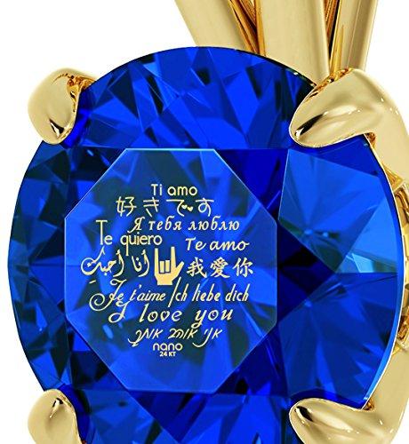 Bijoux Romantique - Pendentif En Or Jaune 14ct avec Je t'aime en 12 langues inscrit en Or 24ct sur un Cristal Swarovski, Chaine en Or Laminé de 45cm - Bijoux Nano Bleu Profond