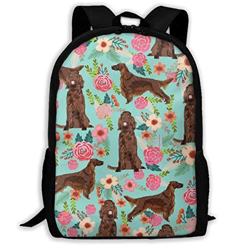 Irish Setter 823 Rucksack, Blumenmuster, für Hunde, für Reisen, Laptop, extra groß, für Schule und Studenten, klassischer Rucksack (Irish Spring-sport)
