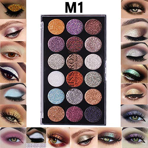 Yazidan 18 Farbs Glitter-Lidschatten-Pulver-Glitter-Lidschatten-Kosmetik Lidschatten Diamant Regenbogen Make up Kosmetik Augenschatten Palette Eye Shadow Palette Professionelles Makeup