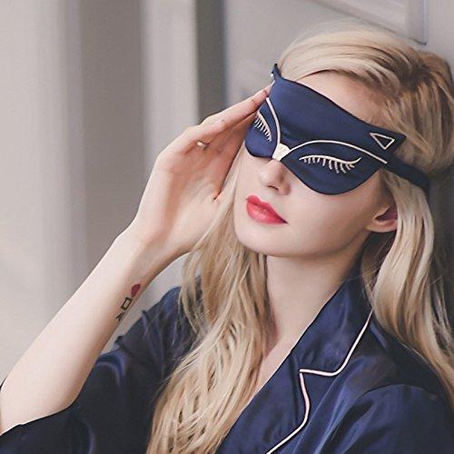 Seda - máscara para dormir, suavizado de doble cara Antifaz para dormir de seda Mulberry, correa ajustable, Sexy Fox Gato para viaje, relax, pan, de moda las mujeres, hombres