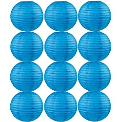 Farolillos para boda color azul. Distintos tamaños. 12 unidades.