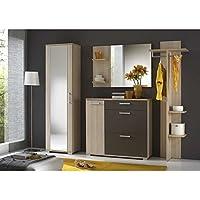 JUSTyou IDO Conjunto de muebles de entrada recibidor Tamaño: 195x225x35 cm Fresno Coimbra / Gris Grafito Mat