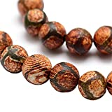 Tibet DZI Achat Buddha Perlen 8mm Natur Effloresce Edelstein Rund Schwarz Tibetanischer Halbedelstein Edelstein Achat Stein Schmuck Kette Armband Agate Gemstone Beads G759 x2