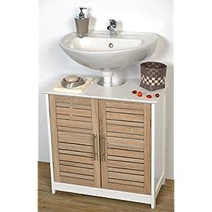 Tendance Mueble para Colocar Debajo del Lavabo Stockholm, 2 Puertas y 1 Estantería, Color Blanco/Roble, 60 x 30 x 70 cm