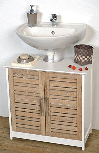 Mueble para colocar debajo del lavabo TendanceStockholm, estructura de madera MDF + 2puertas, madera, color blanco/roble, 60x 30x 60cm