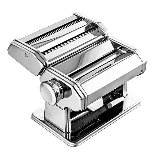 CRJT Shop Pasta Machine, Stainless Steel Heavy Duty Manual Noodle Cutter Adjustable Different Thicknesses Easy to Use Homemade Fresh Lasagne Fettuccine Tagliatelle (Color : Silver)
