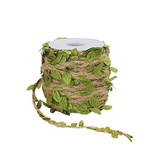 Tenn Well Jute-Kordel mit grünen Stoffblättern, ca. 20 m lange Schnur mit Blättern, ideal für Hochzeit-, Haus-, oder Gartendeko