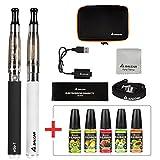 Salcar Cigarrillo electrónico eGo-T CE4 con doble kit de iniciación, batería recargable de 1100mAh, Vaporizador de 1,6ml + 5x 10ml set E-Líquido, 0,00 mg Nicotina (nergo+blanco)