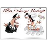 A4 XXL Hochzeitskarte BRAUTPAAR mit Umschlag - edle Glückwunschkarte zum Aufklappen mit lustiger Karikatur zur Hochzeit - Maxikarte von BREITENWERK