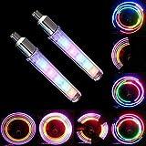 Daozea 2PCS bicicletta ruota valvola del pneumatico Cap Spoke neon 5luci LED lampada di facile installazione ruota raggio luci per adulti bambini bici resistente all' acqua LED neon pneumatico flash lampada