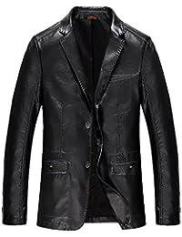 Moin Herren Vintage PU-Leder Jacke Kunst Lederjacke Anzugjacke Sakko Kunstlederjacke Übergangsjacke Herbstjacke Herrenjacke Lederlook 3 Farben zum Auswahl