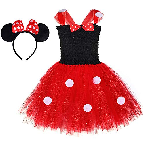 QYS Mädchen Tupfen Geburtstag Prinzessin Bowknot Tutu Kleid Halloween Weihnachten Cosplay Karneval Pageant Nette Maus Dress Up Phantasie Kostüm Party Outfits mit Stirnband 2-8Y,100cm