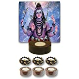 TYYC Home Decorative Candle Holders Diwali Gift Items Blissful Lord Shiva Tea Light Holder- Set Of 7