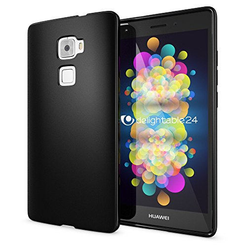 NALIA Handyhülle für Huawei Mate S, Ultra-Slim Silikon Case Cover Hülle, Dünne Crystal Schutzhülle, Etui Handy-Tasche Back-Cover Bumper, softe TPU Gummihülle für Mates Phone - Matt Schwarz