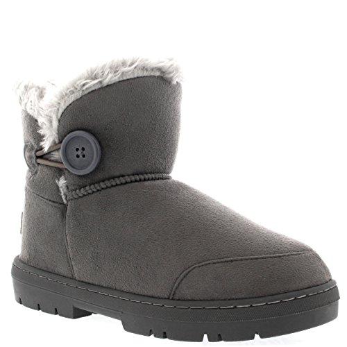 Holly Damen Button Mini Pelz Gefüttert Warm Schuhe Winter Wohnung Schnee Regen Stiefel - Grau - GRE39 AEA0298