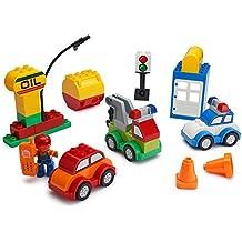 Juego Build Car Creator Bloques de Construcción Set - 52 Piezas - Incluye Minifigura Mecánica, Accesorios de Garaje y Piezas de Base para Crear un Coche de Policía, Plataforma de Petróleo, Camión de Remolque y Más - Compatible con LEGO DUPLO