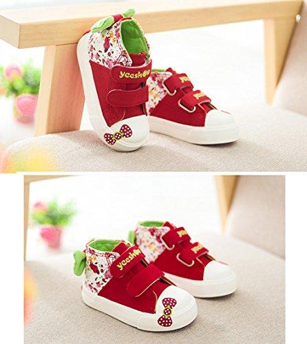Scothen Mädchen Sneaker Leinenschuhe Blumenmuster Segeltuchschuhe High Top Turnschuh Textil Kid Schuhe Turnschuhe Canvas Kinder Schuhe Laufen Sport Baby Turnschuhe Mädchen Prinzessin schuhe Rot