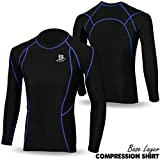 Herren Base Layer Compression Shirt Full Sleeve Top Long Thermo Body Armour schwarz Medium  - Black/Blue Line