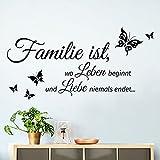 Grandora W5457 Wandtattoo Zitat Familie ist.. I schwarz 80 x