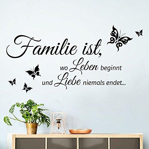 Grandora W5457 Wandtattoo Zitat Familie ist.. I schwarz 80 x 40 cm I Flur Diele Wohnzimmer selbstklebend Aufkleber Wandaufkleber Wandsticker