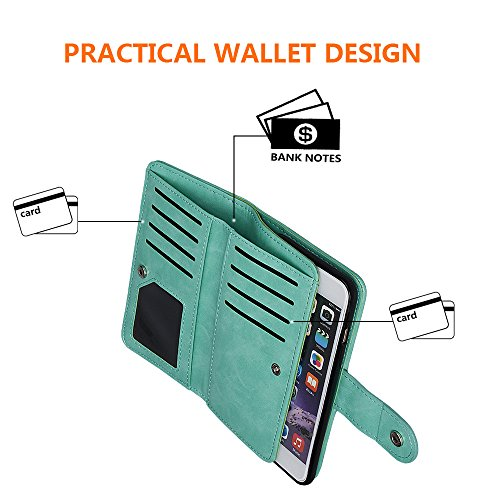 """xhorizon MLK [upgrade] 2-en-1 design Support de voiture remarquable pour téléphone portable à deux volets Folio Portefeuille en cuir pour iPhone 6/ iPhone 6S [4.7""""] (noir) vert"""