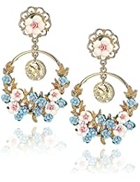 Peora Gold Plated Flower Shape Resin Fancy Party Wear Earrings For Women And Girls