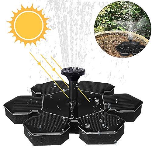 Amokee Solar Springbrunnen, Solar Teichpumpe Fontäne Wasserpumpe Solar Pumpe mit 1.5W Monokristalline Solar Panel für Gartenteiche, Fisch-Behälter, Garten Springbrunnen Wasserspiel Dekoration -