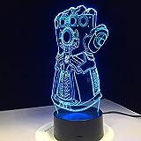 Orangeww 3d optische Täuschung Tischlampe / 7 Farbwechsel/Stimmung Lampe/Baby Schlafzimmer Dekoration/Nacht Lampe /Infinity War Handschuhe