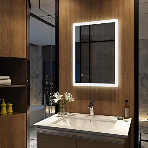 EMKE Badspiegel mit Beleuchtung 50x70x4,5cm, Badezimmerspiegel Wandspiegel LED Badspiegel mit Touch-Schalter Kaltweiß Energieklasse A Modell 3
