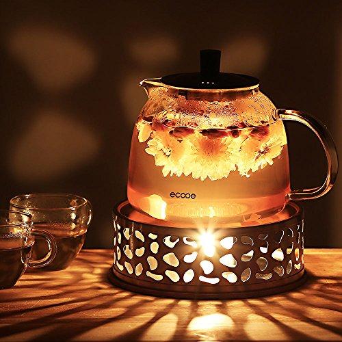 Ecooe Stövchen Teewärmer Kaffeewärmer aus Edelstahl mit Teelichthalter ,Teelicht und Teekanne ist nicht enthalten