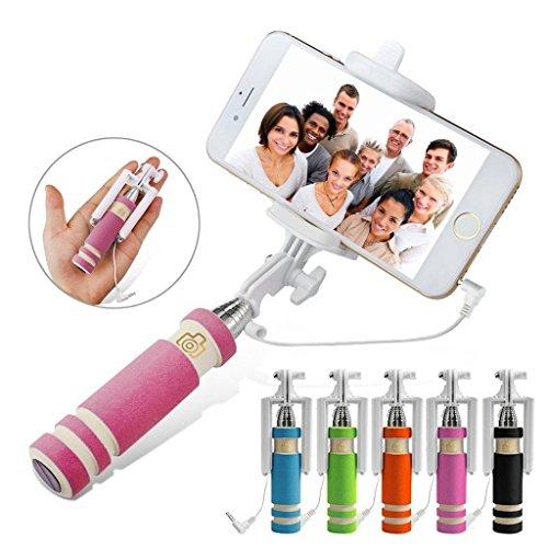 Fone-Case (Pink) Mini Selfie-Stick Ausziehbare Tasche Einbeinstativ für Mobiltelefone mit eingebautem Remote-Shutter für für Sony Xperia XZ Premium (Teleskop-computer Fall Leder)
