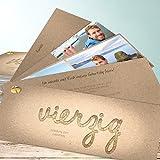 Geburtstagskarten 40er, Goldener Tag 40 200 Karten, Kartenfächer 210x80 inkl. weiße Umschläge, Braun