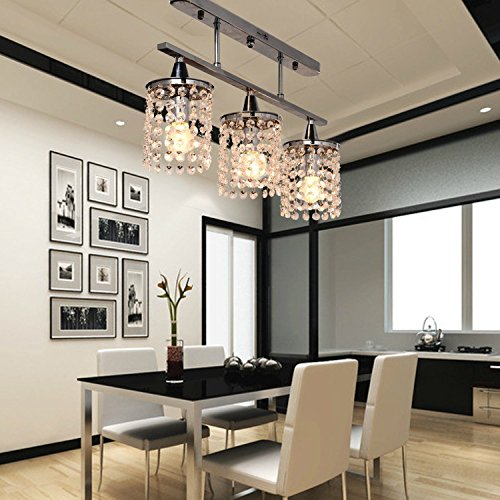 OOFAY 3 Light Hanging Crystal Linear Chandelier with Solid Metal Fixture. Modern Flush Mount Ceiling Light Fixture for Entry. Dining Room. Bedroom