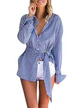 FEITONG Blusa de rayas azules de las mujeres Camisetas de manga larga Camisetas de manga larga