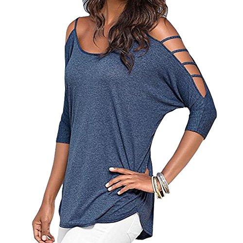 Minetom Femme Sexy Bat Shirt Manche Courte Col Rond Epaule Nue Tops Haut Chemise Pullover Bleu
