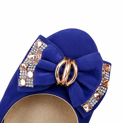 Mee Shoes Damen modern elegant populär dicker Absatz mit Schleife Strass runder toe Geschlossen Pumps Blau