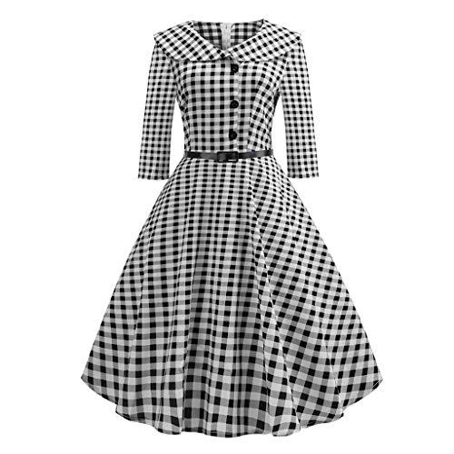 (Riou Damen Cocktailkleid Elegant 50er Retro Hepburn Stil Langarm Lang A Linie Plaid Druck Swing Kleider für Hochzeit Abend Party Ballkleider)
