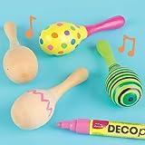 Baker Ross Maracas aus Holz - zum Bemalen für Kinder - Musikinstrument - Rassel (4 Stück)