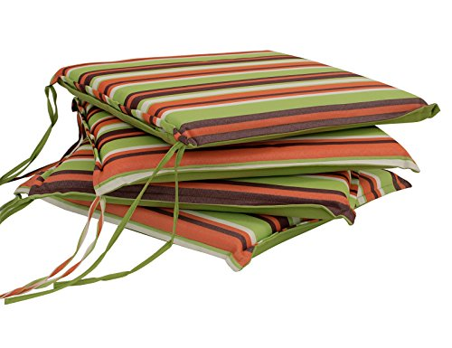 DEGAMO 4-er Set Sitzkissen MALLAWI 41x41cm, hellgrün gestreift, 4 Stück -