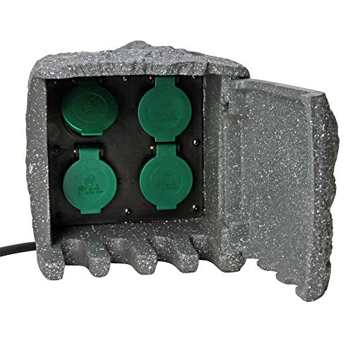 Kopp Energiestation Stein-Optik mit 4 Schutzkontakt-Steckdosen 230 V I Gartensteckdose Stein-Optik I Außen-Steckdose Steinoptik I Garten-Steckdose Aussen I IP44 Steinsteckdose I Grau - 145322018