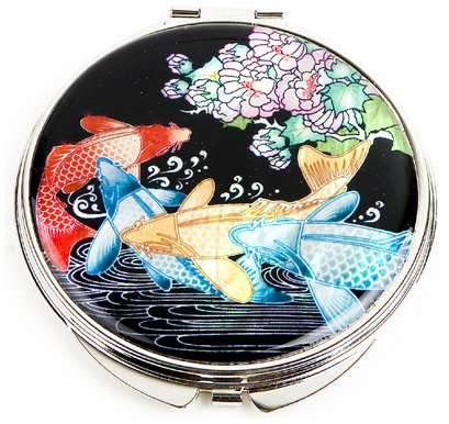 Hand mirror with mother of pearl, compact type, handmade oriental gift, carps by Silver J