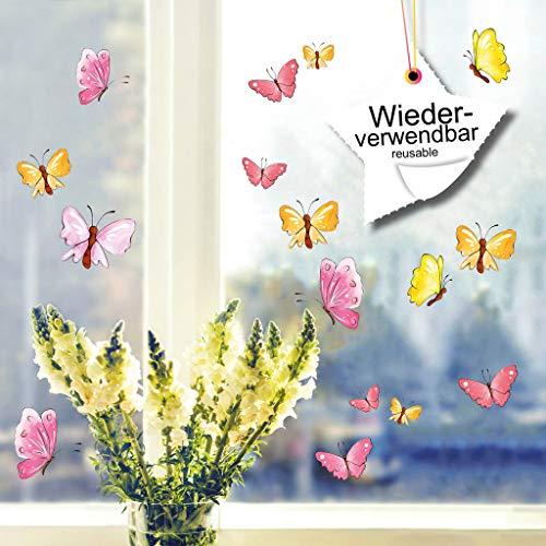 Wandtattoo-Loft Fensterbilder Frühling Bunte Schmetterlinge Pastell 20 STK. Wiederverwendbare Fensteraufkleber Ostern / WV119