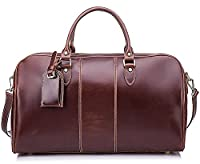 BAIGIO Men's Vintage Leather Holdall Overnight/ Weekend Travel Bag Wax Finish Duffle Large Cabin Luggage (Cognac)