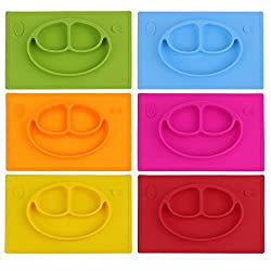 Generic Silicone Smile Face Divided Plate Dish for Kids Toddler Divided Plates Platter Baby Feeding Utensils Dinner Tray Kid Tableware- Yellow