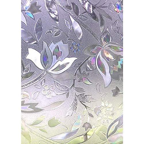 Zindoo 3D ohne Klebstoff Fensterfolie Dekorfolie Sichtschutzfolie Blumen Tulpe Privatsphäre Schutz Fenster Folie für Heim Kueche Buero 90 * 200CM -